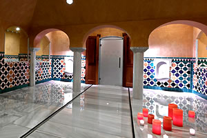 interior of the royal ahlambra spa and arab baths in granada