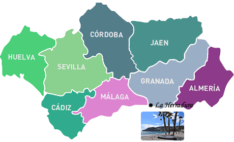 location of the herradura in the andalucia, granada map