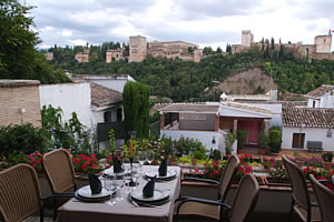 view of the alhambra from the restarurant