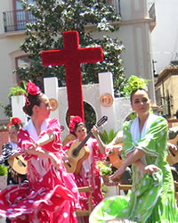 squares during dia de la cruz of granada