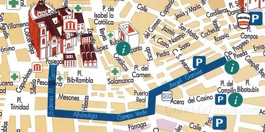map of oficial route of the processions during holy week in granada