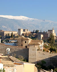 towers and the alhambra in granada spain