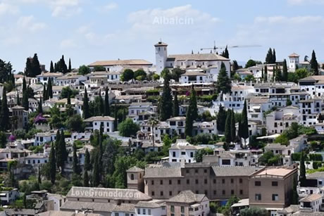 view of albaicin from alhambra palace