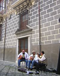 madraza building and musicians
