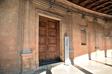 entrance to the fine arts museum in the carlos V palace
