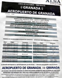 granada airporta bus timetables