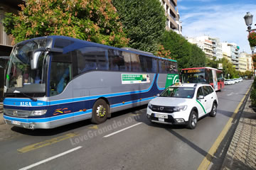three types of granada transport, bus, taxi and airport bus