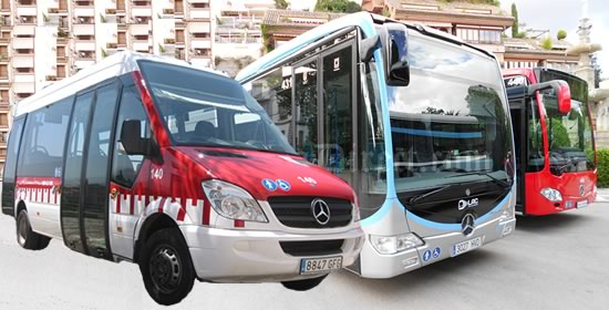 three types of red buses in granada