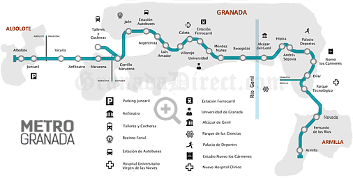 metro line plan of granada with stops