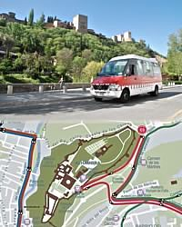 alhambra, sacromonte and Albaycin buses map
