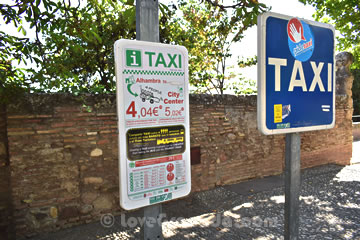alhambra taxi stop with the prices