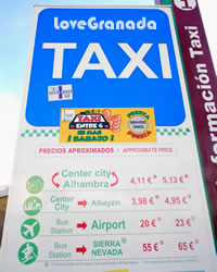 taxis from the bus station to the airport, alhambra and sierra nevada