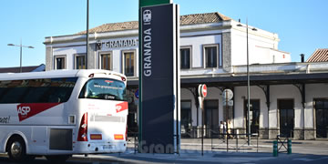granada train station building and bus parked